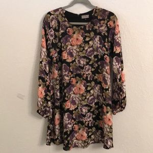 Floral long sleeve lined dress